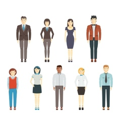Set of young men and women wearing office clothes vector image