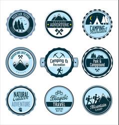 set outdoor adventure retro blue labels vector image