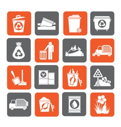 Silhouette Garbage and rubbish icons vector