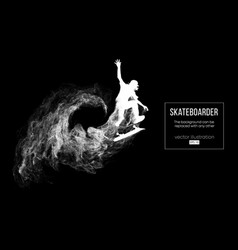 silhouette of a skateboarder skateboarder jumps vector image