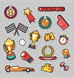 Stickers sport champions with cups medals vector