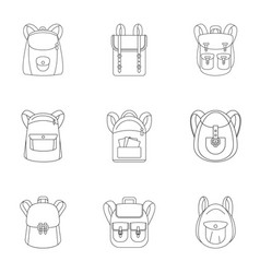 student backpack icon set outline style vector image