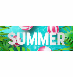 summer web banner tropical plants and pool vector image