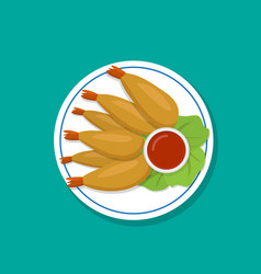 Top view fried prawn on white plate vector