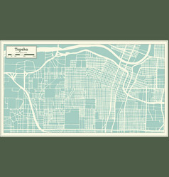 Topeka kansas usa city map in retro style outline vector