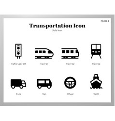 transportation icons solid pack vector image