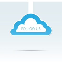 Trendy follow us cloud icon tag vector