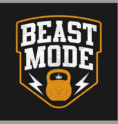 Typography beast mode with kettlebell vector