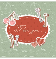 Valentine romantic love card with keys and hearts vector image