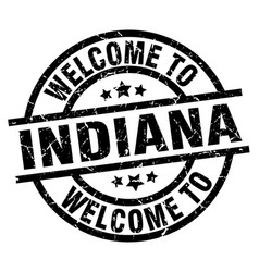 Welcome to indiana black stamp vector