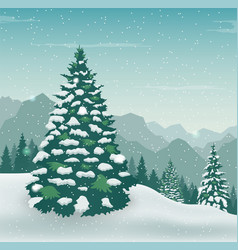 winter landscape with snow trees and mountains vector image