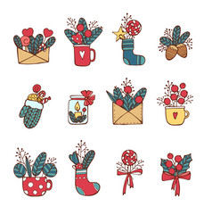 winternew year christmas colored icons set many vector image