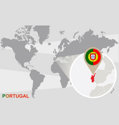 world map with magnified portugal vector image