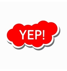 Yep in red cloud icon simple style vector image