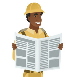 Young african-american traveler reading newspaper vector