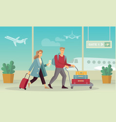 Young couple with luggage at airport flat vector