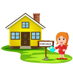 Young women broker offering the house for sale vector