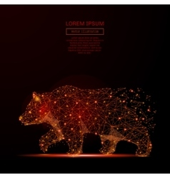 bear low poly flame vector image vector image