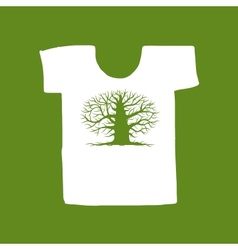 Big tree green on white t-shirt for your design vector image vector image
