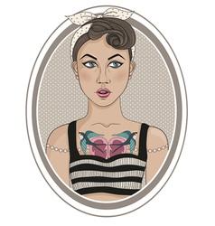 Cute rockabilly style fashion girl vector image