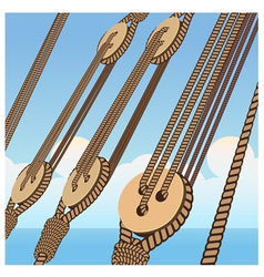 Deadeye and ropes vector image