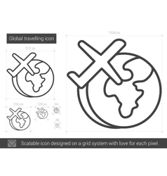 Global traveling line icon vector