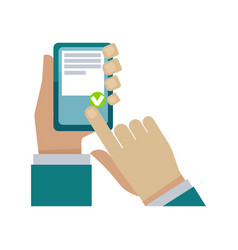 human hand holding phone and choosing something on vector image