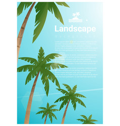 landscape background with palm trees vector image