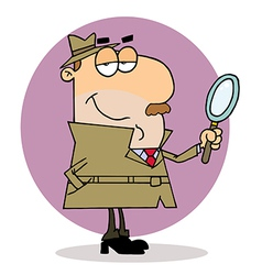 Caucasian Cartoon Investigator Man vector image vector image