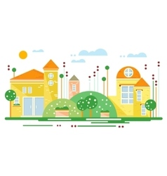 Green landscape with city trees the road flowers vector image