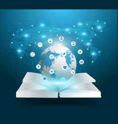 Open book and globe knowledge vector image vector image