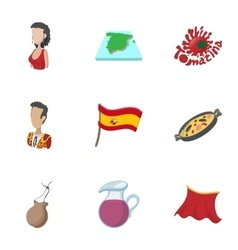 Spain icons set cartoon style vector image