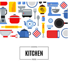 flat style kitchen utensils background vector image