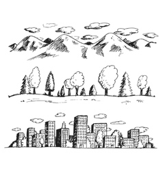 landscapes hand drawn vector image vector image
