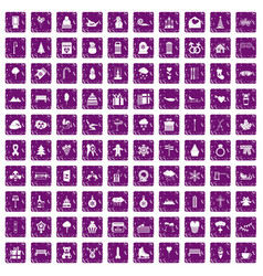 100 winter holidays icons set grunge purple vector image vector image
