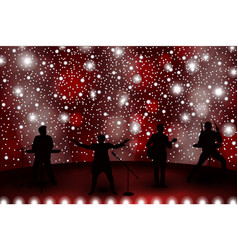 band show concept with red light and stars set of vector image vector image