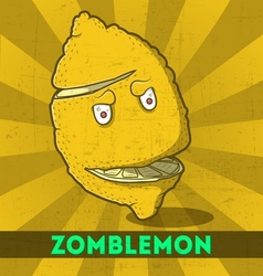 Funny cartoon zombie yellow monster lemon vector image