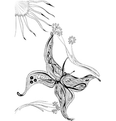 Hand drawn zentangle butterfly with flowers vector image