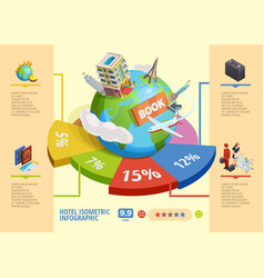 hotel isometric infographics vector image vector image