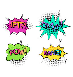 pow sound and wtf comic bubble speech crash wtf vector image vector image