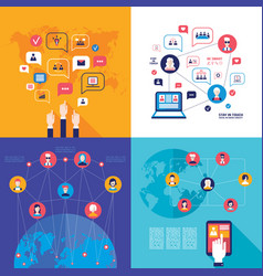 social network technology banner set global vector image