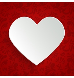 Valentines day greeting card with paper cut heart vector image