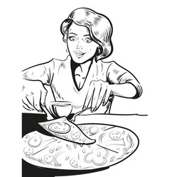 Woman eating pizza at home in vector