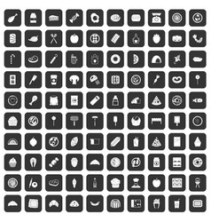 100 delicious dishes icons set black vector