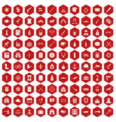 100 guns icons hexagon red vector
