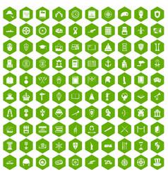 100 history icons hexagon green vector