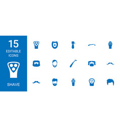 15 shave icons vector