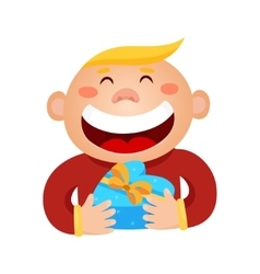 a boy holding a gift in a vector image