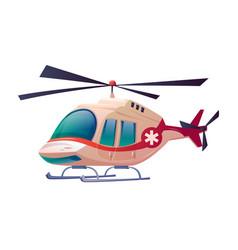 ambulance helicopter isolated medical plane icon vector image