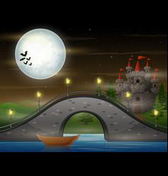 Arch bridge and castle on moonlight landscape vector